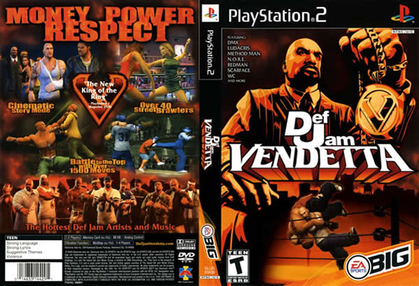 Descargar Def Jam - Vendetta para PlayStation 2 en formato ISO región NTSC y PAL en Español Multilenguaje Enlace directo sin torrent. Def Jam Vendetta es un videojuego del 2003 sobre la lucha libre profesional en donde se incorporan el hip hop. Fue lanzado para la PlayStation 2 y el GameCube el 2003 y según algunos criterios este fue el primer videojuego de lucha libre de EA. El motor del juego fue originalmente diseñado para su uso en una secuela de EA WCW Mayhem , pero EA pierde la licencia WCW cuando la empresa de lucha libre fue comprado por la World Wrestling Entertainment en 2001. Hasta ahora, tan solo se han presentado dos secuelas; Def Jam: Fight For NY en el 2004 y Def Jam: icon en el 2007, aunque también se afirmó que en el 2011 se presentara Def Jam Underground.