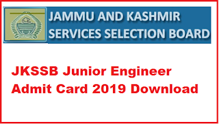 JKSSB Junior Engineer Admit Card 2019 Download