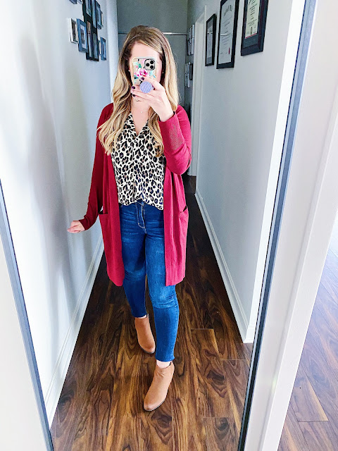 burgundy cardigan outfit fall, burgundy cardigan outfit work, leopard blouse outfit jeans