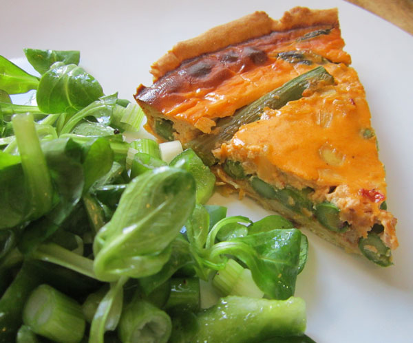 Crab and asparagus tart.