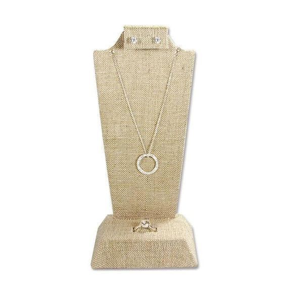 #F9-18(LN) Tall Undyed Color 100% Organic Hemp Linen Covered Combination Necklace, Earring, and Ring Display Stand