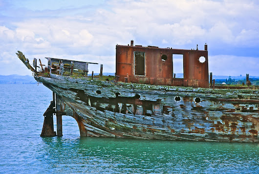 Don Donovan's World: Photoprint for Sale: Wreck Of Hinau Coastal Vessel, Kaiaua, Firth Of Thames, New Zealand