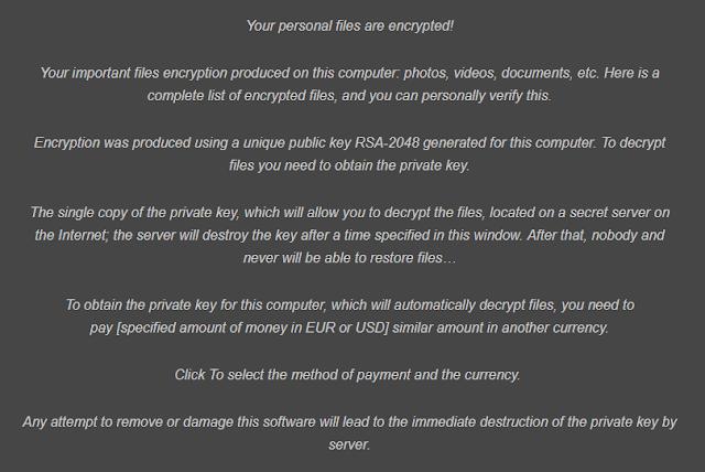 Cryptolocker Ransomware Ransom Note