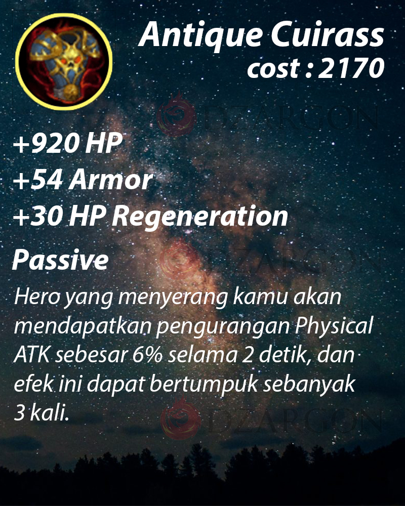 Bulit super tebal Antique Cuirass ( +30 HP Regeneration) Hero Tank