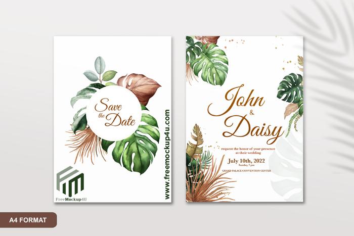 Boho Wedding Invitation Template Premium Psd Free Download