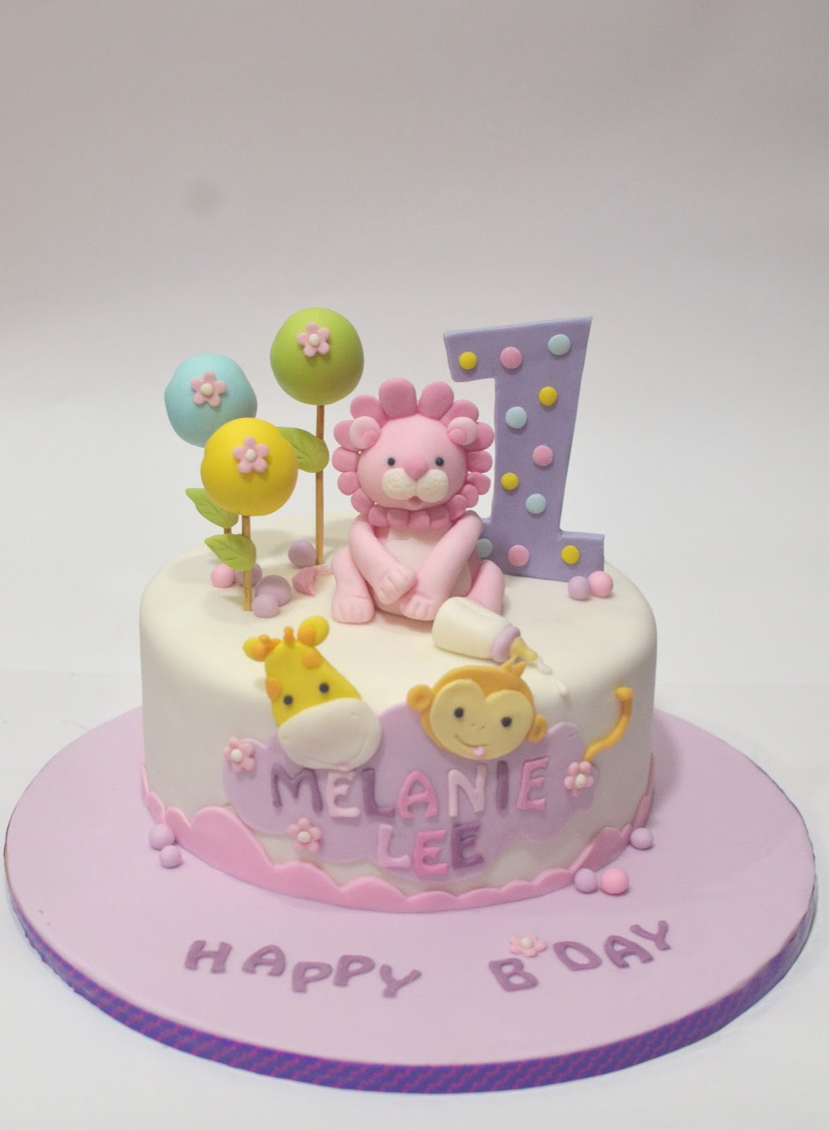 Mom And Daughter Cakes Cute Safari Animals Cake For One Year Old