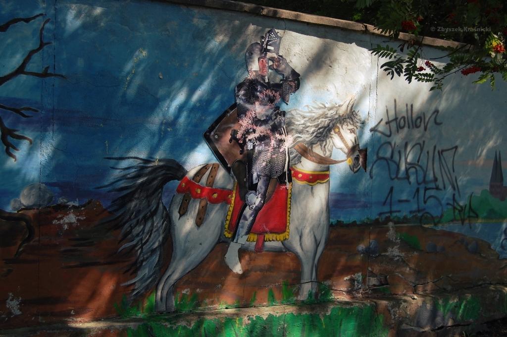 Ostróda, graffiti, św. Jerzy