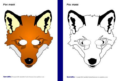 Volpe da colorare e stampare - Pagina colorazione maschera gatto ...