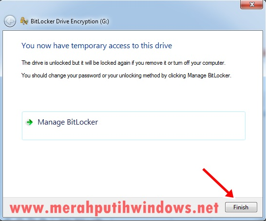 bitlocker key recovery finish