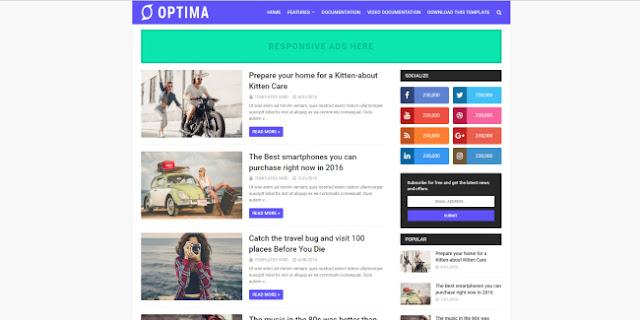 Optima blogger template 2018