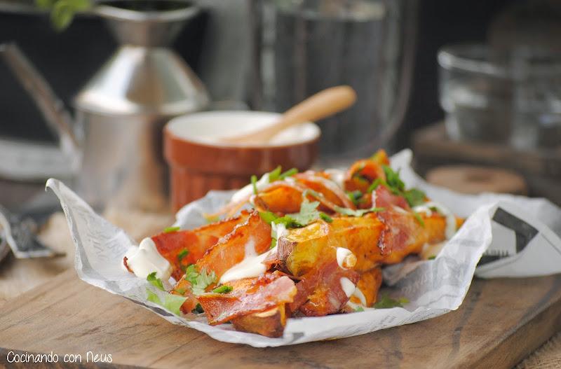 Boniatos asados con beicon caramelizado y crème freîche-cocinando-con-neus