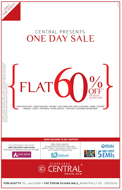 FLAT 60% OFF IN CENTRAL | ONLY FOR TODAY | AUGUST 2016 DISCOUNT OFFER