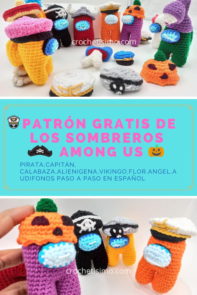 PATRÓN GRATIS de los sombreros AMONG US capitán/ calabaza /pirata en 2 colores