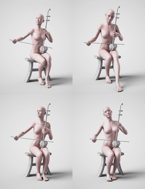 Chinese Erhu and Poses for Genesis 3 and 8 Female