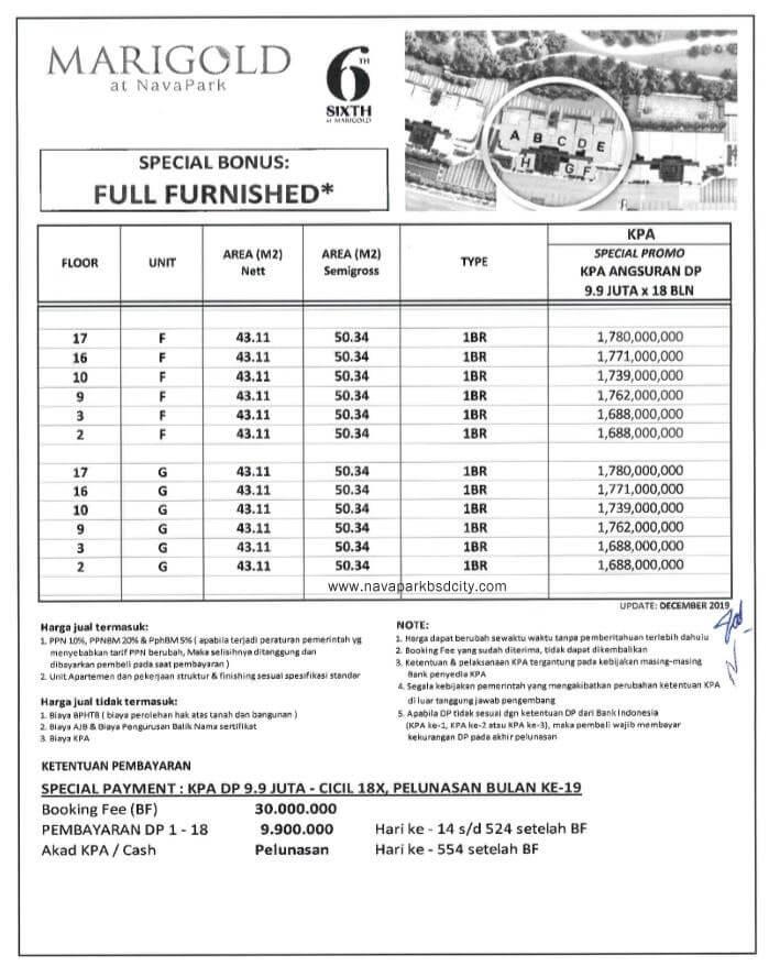 Price List Harga Marigold Navapark BSD