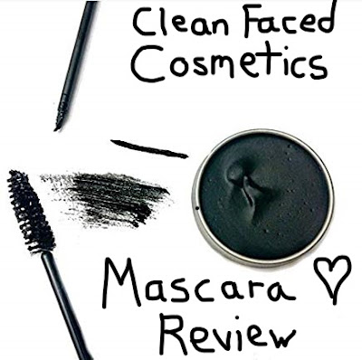 A picture of Clean Faced Cosmetics cake mascara with the words Clean Faced Cosmetics Mascara Review in the center