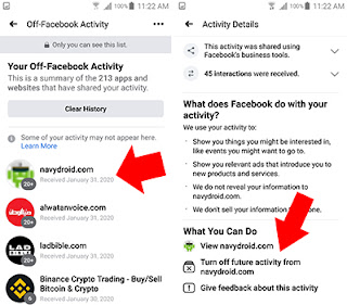 لأيقاف ميزة Off-Facebook Activity عن تطبيقات او مواقع محددة