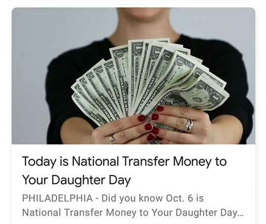 National Transfer Money to Your Daughter Day Wishes for Whatsapp