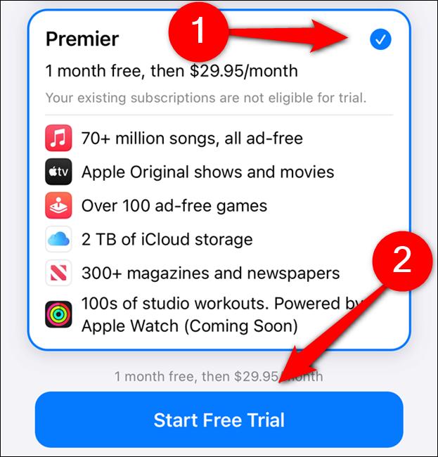 """اختر خطة Apple One ثم حدد """"بدء الإصدار التجريبي المجاني"""""""
