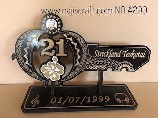 No.A299 COOK ISLAND AND SAMOAN 21ST KEY 70CM - GOLD NAME