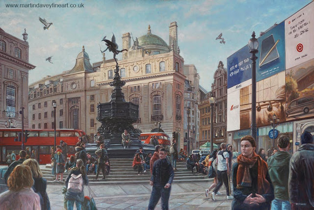 autumn evening light at London Piccadilly famous art by Davey