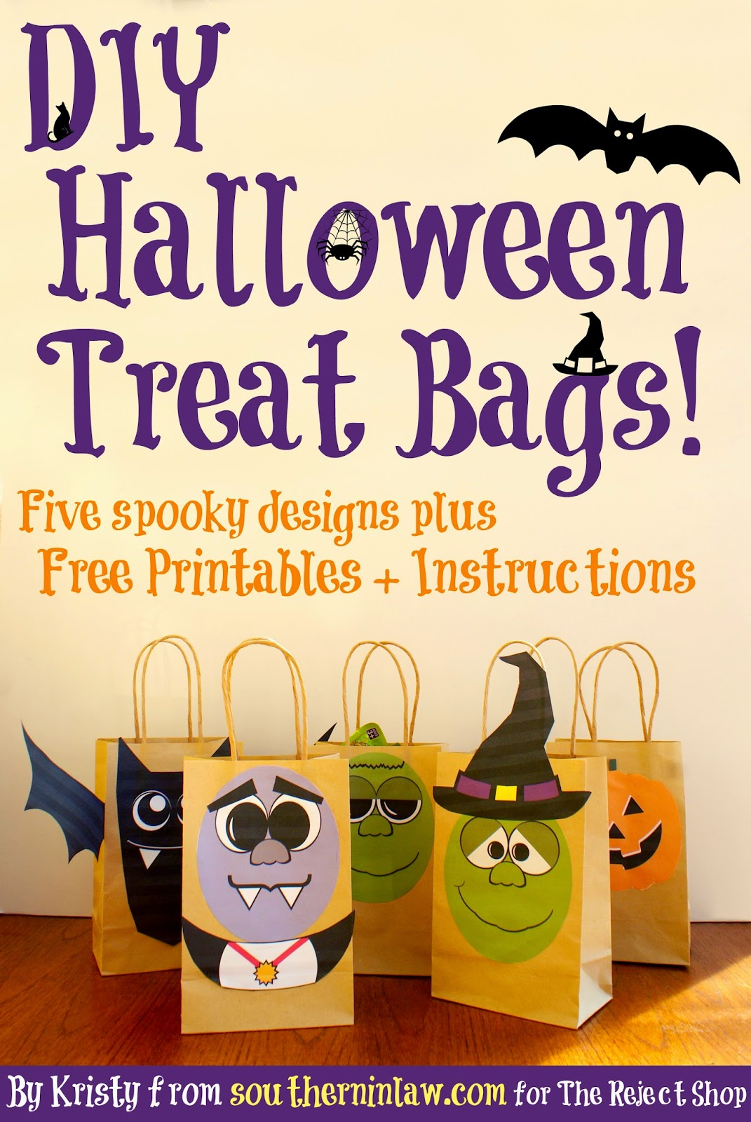 DIY Halloween Treat Bags plus Free Halloween Printable Templates