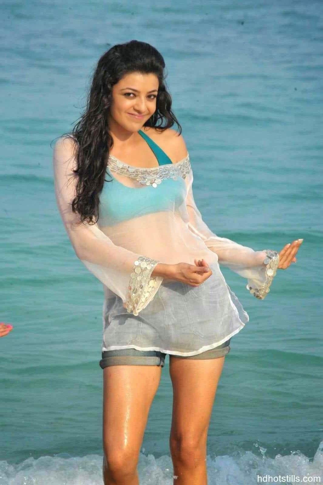 Kajal Aggarwal Most Beautiful Wet Dress Hot Photos and Wallpaper