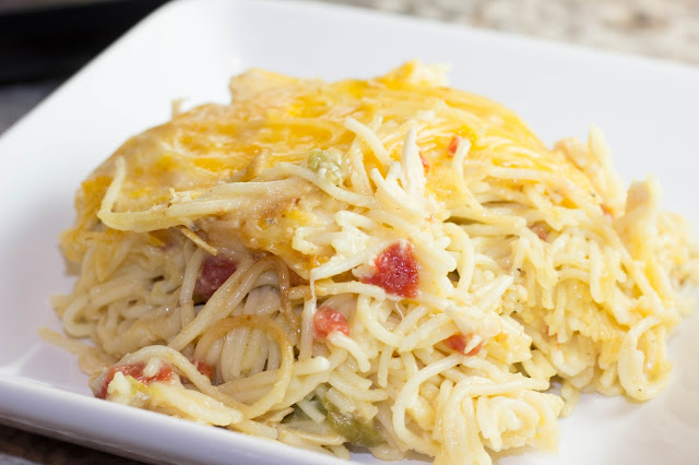 Crock Pot Spicy Cheesy Chicken Spaghetti, Chasing Saturdays