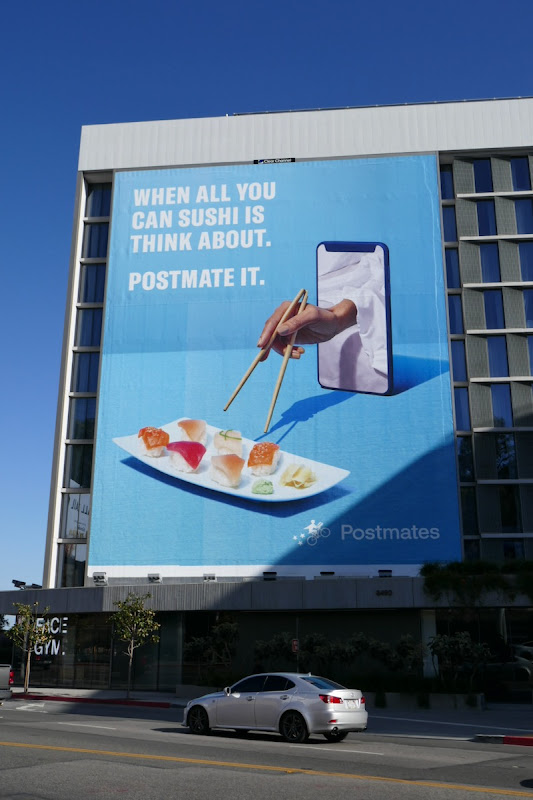 sushi is think about Postmates billboard