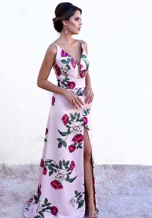 vestido longo floral madrinha