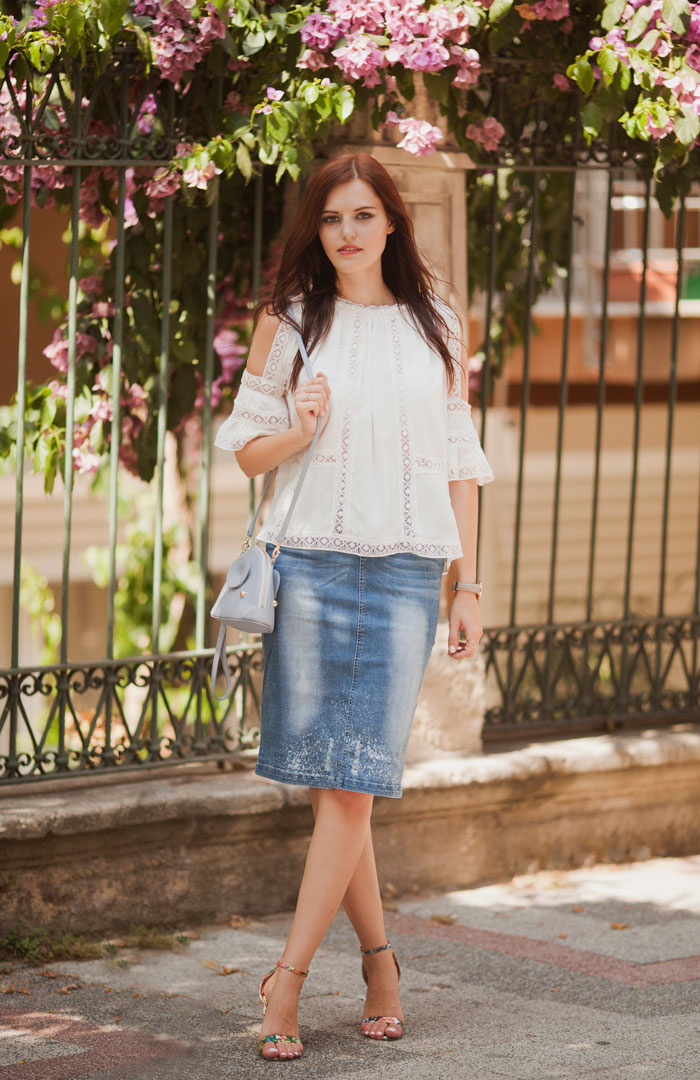 LACE BLOUSE AND PENCIL DENIM SKIRT | TIE BOW-TIE