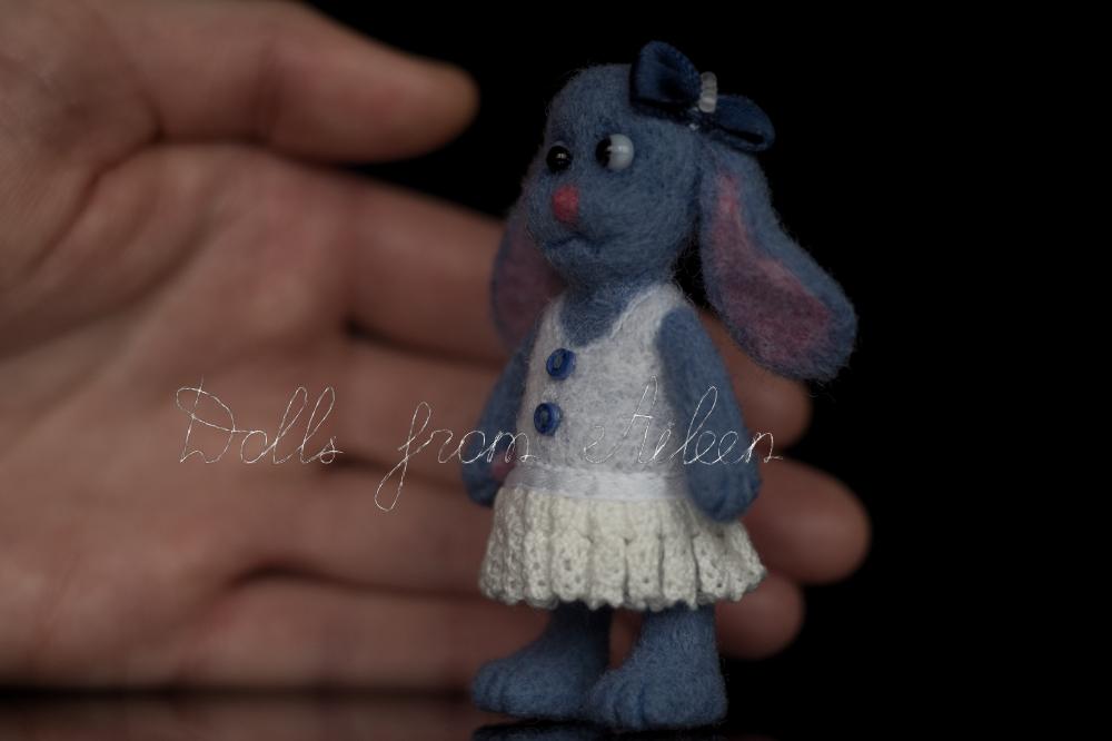 blue ooak needle felted bunny with human hand