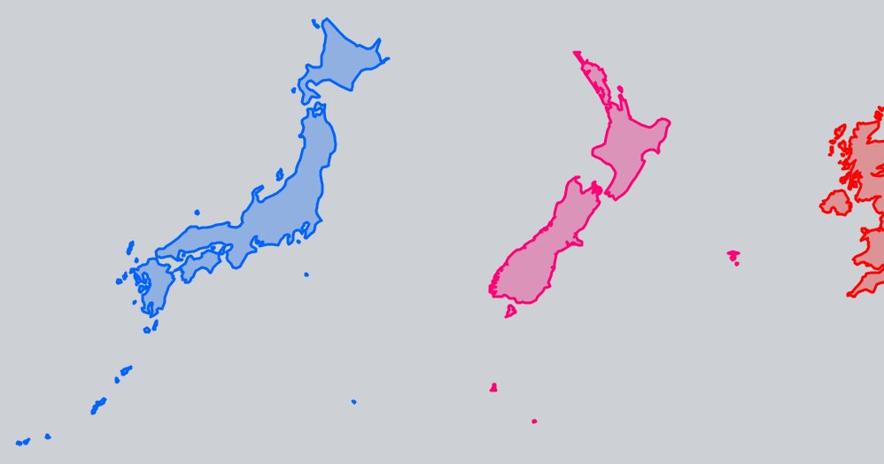 Japan New Zealand And UK Size Comparison Vivid Maps - Japan uk map