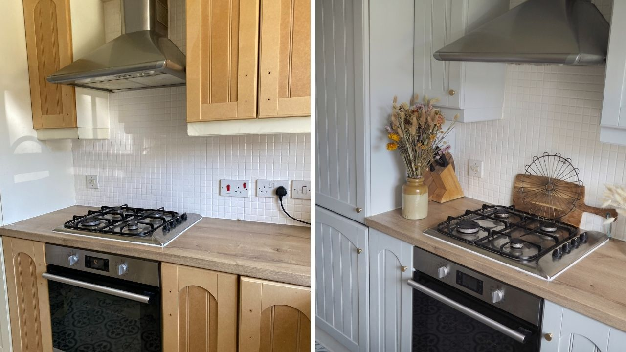 DIY budget kitchen inspiration projects from painting cupboards and tiles, to replacing flooring and using dcdix vinyl on worktops to update your home