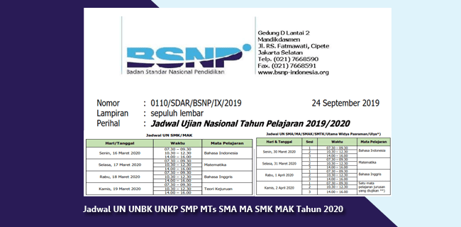 Surat Edaran BSNP Nomor: 0110/SDAR/BSNP/IX/2019 Tentang Jadwal Ujian Nasional Tahun Pelajaran 2019-2020
