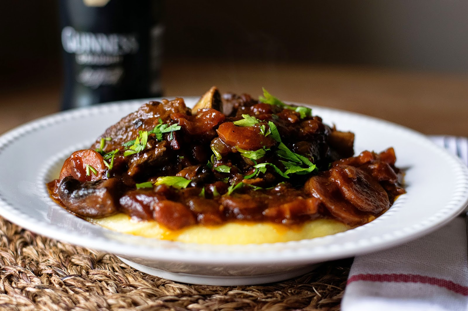 Guinness Braised Short Ribs over Polenta