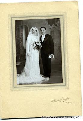 Photo de mariage noir et blanc, Pinson et Guelpa Vichy