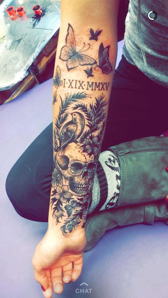 Amazing Black & Grey Skull Bird Tattoos