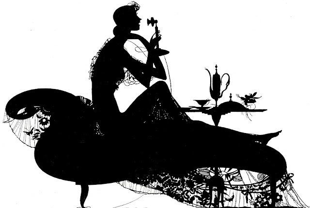 a 1927 magazine illustration of a woman talking on telephone in silhouette