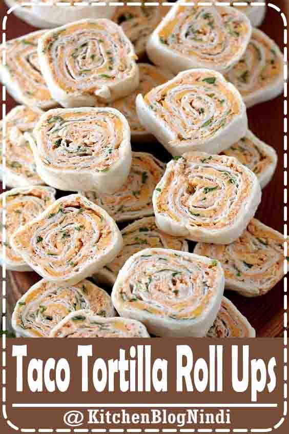4.9★★★★★ | Taco Tortilla Roll Ups this quick and easy party appetizer filled with cream cheese, sour cream, chicken, cheddar cheese, taco seasoning, taco sauce and parsley is perfect for every holiday or a party #TacoTortilla #Roll Ups
