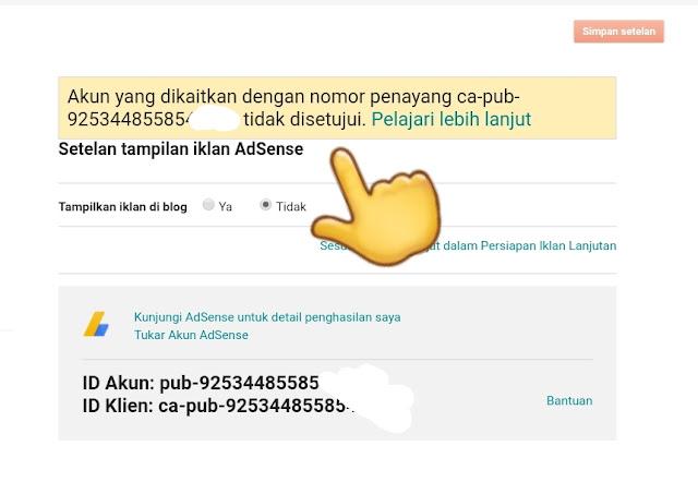 Cara Ganti (Tukar)  Akun Adsense Blogspot Error (Direct Kembali Halaman Utama)