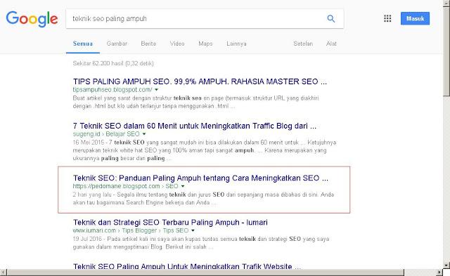 2 hari, tampil di halaman pertama dan menang persaingan di SERP Google/Bing