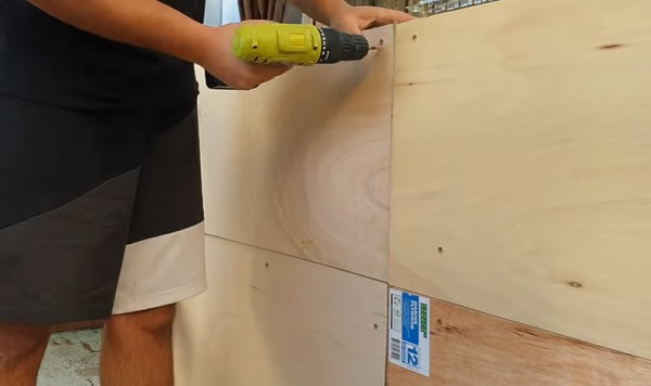 Attach Plywood to the inside of the Pond