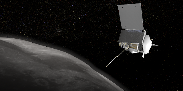 Artist's rendering of the OSIRIS-REx spacecraft at asteroid Bennu. Image credit: NASA/GSFC