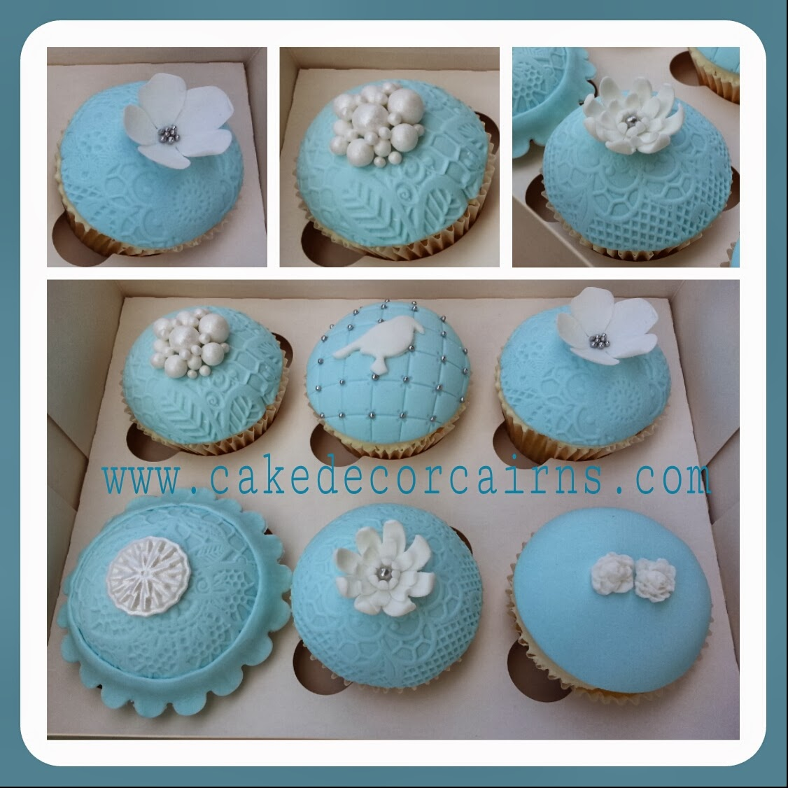 Pretty Blue and White Cupcakes