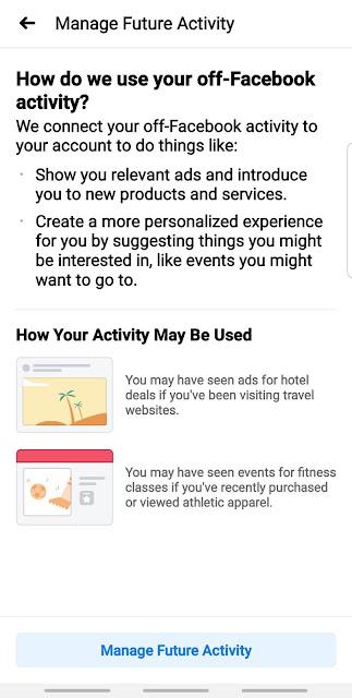Off Facebook Activity tracker Manage Future Activity