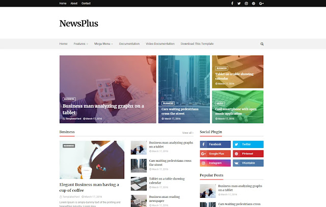Newsplus Responsive Magazine News Blogger Template Theme