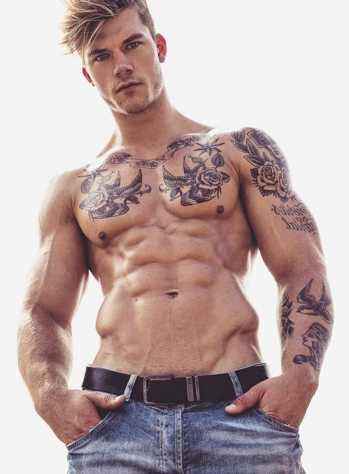 hot-tattoo-muscle-man-hair-style-shirtless-muscle-body-jeans