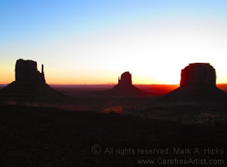 Sunrise in Monument Valley. Copyright Mark A. Hicks