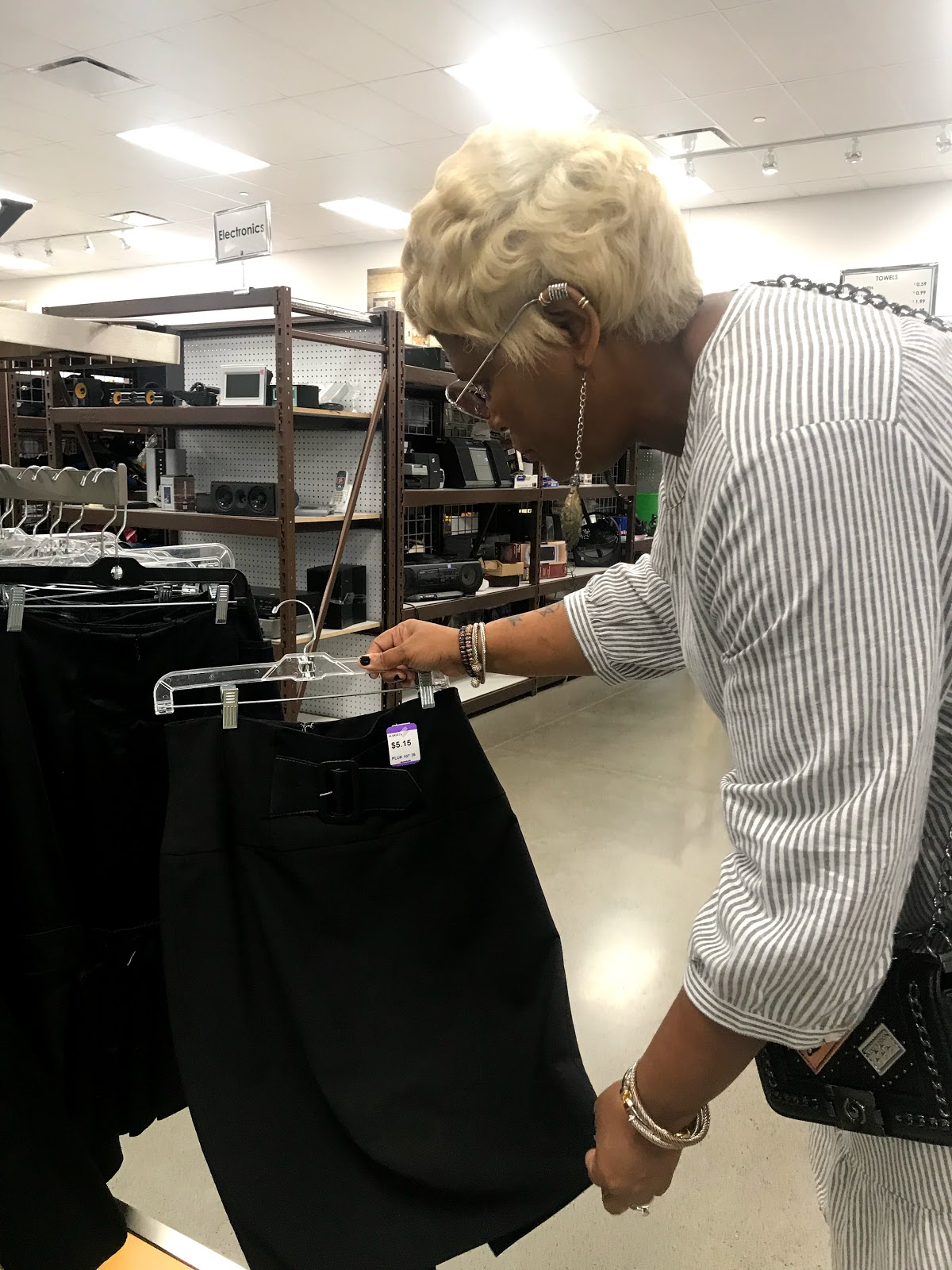 Image: Tangie Bell shopping at the Goodwill thrift store and finding clothes that cost only 3.99. Seen first on Bits and Babbles